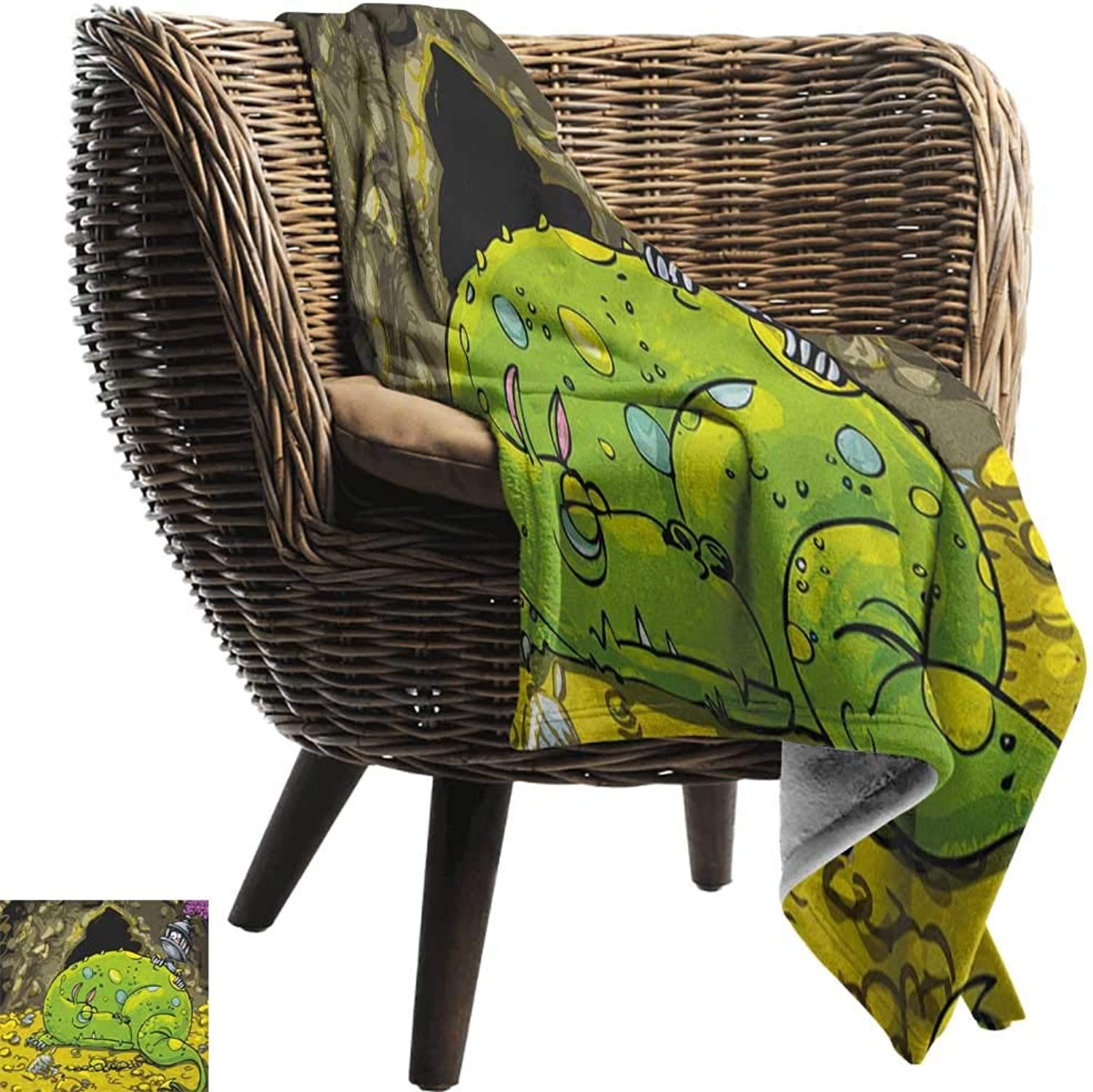 Sunnyhome Dragon,Super Soft Lightweight Blanket,Cute Creature Sleeping on A Pile of gold and Scared Knight Peering Over Kids Cartoon 60 x50 ,Super Soft and Comfortable,Suitable for Sofas,Chairs,beds