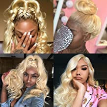 613 Blonde Bundles with Frontal Brazilian Body Wave 3 Bundles with 13×4 Ear to Ear Lace Frontal Closure 100% 9A Virgin Remy Human Hair Weft 150% Density Free Part(10 12 14+8, 613)