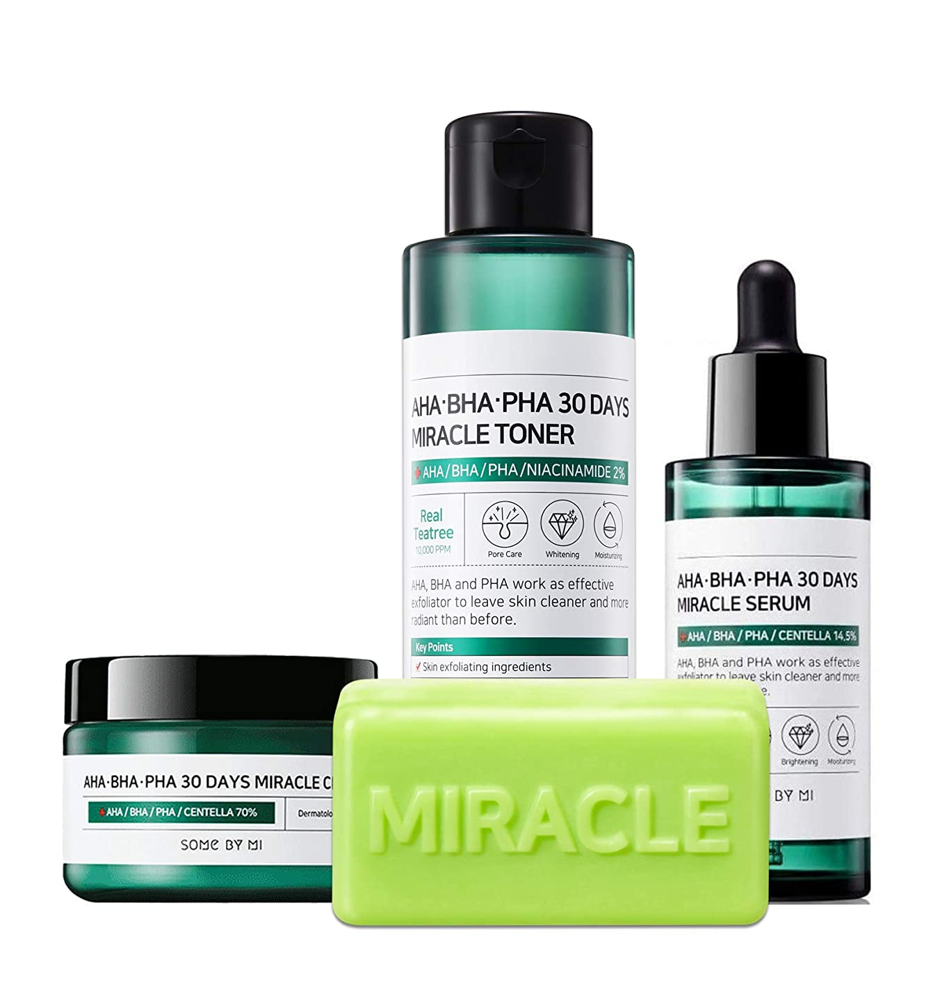 いつか手入れ石灰岩Somebymi (サムバイミー) AHA BHA PHA Miracle Series Full Set 4 Pcs (Soap, Toner, Serum, Cream) Anti-acne Exfoliation Hydration Brightening, Skin Barrier & Recovery, Soothing with Tea Tree [並行輸入品]