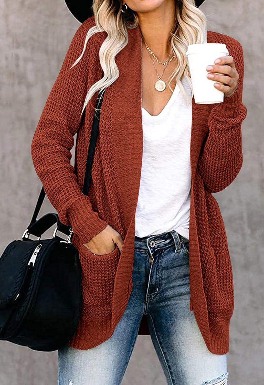 ZESICA Women's Long Sleeve Open Front Casual Lightweight Soft Knit Cardigan Sweater Outerwear