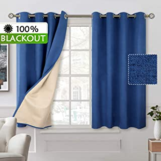 BGment 100% Blackout Curtains with Liner for Bedroom, Grommets Thermal Insulated Textured Linen Lined Curtains for Living Room (52 x 54 Inches, 2 Panels, Dark Blue)