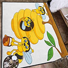 Nursery Decor Area Rug,Branch of Tree with Beehive and Bees Honey Funny Insect Hardworking Mascot Multicolor & Anti-Skid Yellow Brown Green 71