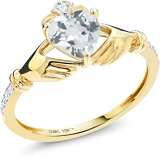 Gem Stone King 0.73 Ct Irish Celtic Claddagh Sky Blue Aquamarine Diamond Accent 10K Yellow Gold Ring