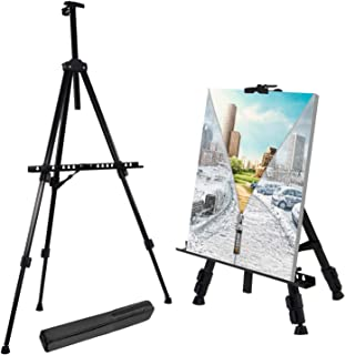 "T-Sign 66"" Reinforced Artist Easel Stand, Extra Thick Aluminum Metal Tripod Display Easel 21"" to 66"" Adjustable Height wit..."