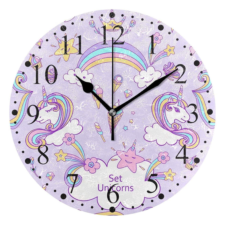 統治する事実上スープ角獣 ユニコーン 幻獣 掛け時計 置き時計 おしゃれ 北欧 油絵の効果 壁掛け 連続秒針 リビング 部屋装飾 贈り物