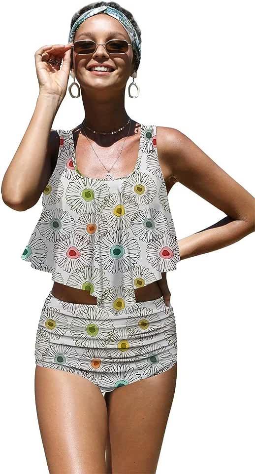 Angerella Womens Beautiful Floral Summer Seamless Pattern Flounce Bikinis High Waisted Swimsuits,L White