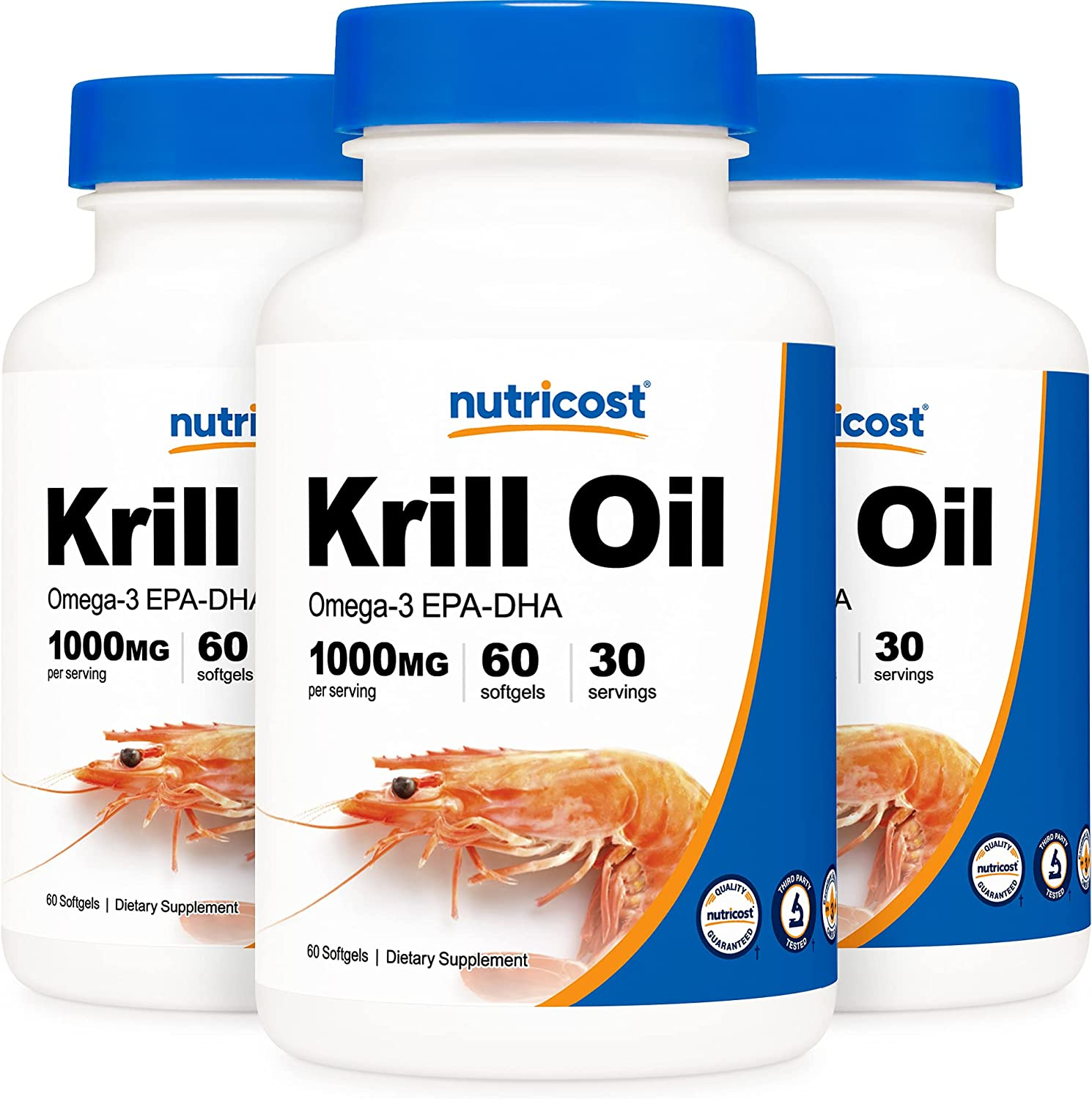 Nutricost Krill Oil 1000mg; 60 Liquid Bottles 3 Ome Softgels Long-awaited Excellent -