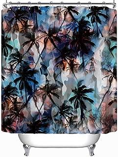 YOLIYANA Tropical Pattern Palm Trees Seamless Background Shower Curtain okjeff Shower Curtain 71''Long x 71''Wide