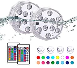 TEPENAR Submersible Led Lights with Remote - Waterproof Underwater Led Light Battery Operated Controlled 16 Color Changing...