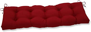 """Pillow Perfect Outdoor/Indoor Pompeii Tufted Bench/Swing Cushion, 60"""" x 18"""", Red"""
