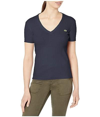 Lacoste Short Sleeve 1X1 Rib Deep V-Neck T-Shirt