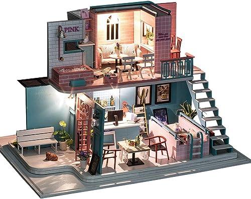 Evav Puppenhaus, DIY Villa Handmade Web rot Shop Haus Modell Spielzeug Spielzeug Geburtstagsgeschenk montiert