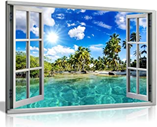 Caribbean Beach Holiday 3D Window Effect Canvas Wall Art Picture Print (30x20in)