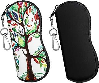 MoKo Sunglasses Soft Case 2 Pack, Ultra Light Portable Neoprene Zipper Eyeglass Soft Case, Eyewear Safety Pouch Zipper Box Case with Belt Clip