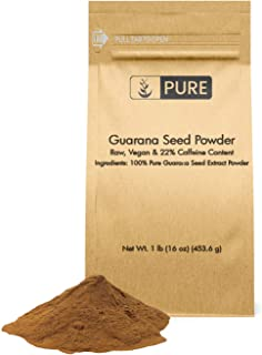 100% Natural Guarana Seed Powder Serving, Energy Booster, Standard 22% Caffeine, Raw, Vegan, No Gluten, Superfood, Lab Tested, Endurance & Cognitive Function, Eco-Friendly Packaging (1 lb)
