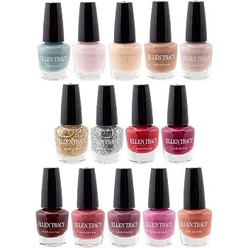 Ellen Tracy Nail Polish Set - Fingernail Polish for Women and Girls, 14 MINI Nail Polish Colors, Glossy and Glitter Quick to Dry Nail Polish