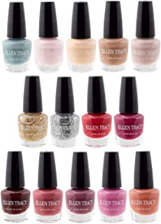 Ellen Tracy Nail Polish Set - Fingernail Polish for Women and Girls, 14 Mini Nail Polish Colors, Glossy and Glitter Quick to Dry Nail Polish