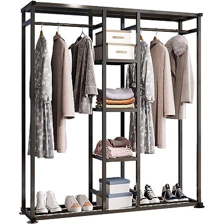 UDEAR Porte-vêtements en métal,Portant Meuble Rangement pour Vêtements Penderie Ouverte,avec 6 étagères,2 Tringle à Vêtements pour Vêtements,Chaussures,Sacs,Accès à l'entrée,Chambre,Noir