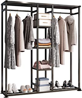 UDEAR Porte-vêtements en métal,Portant Meuble Rangement pour Vêtements Penderie Ouverte,avec 6 étagères,2 Tringle à Vêteme...