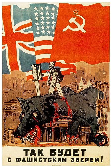 VINTAGE SOVIET PROPAGANDA Russia Soviet War Posters World War 2 Patriotic War Poster