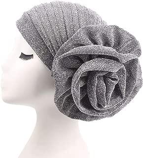Fxhixiy Women Elastic Glitter Big Flower Turban Beanie Head wrap Hair Loss Chemo Cap Hat