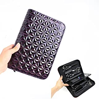 SMITH CHU Hair Stylist Scissor Holder Barber Pouch Cases for Hairdressers - Diamond Pattern Water Resistant Salon Tools Holster Bag (purple)