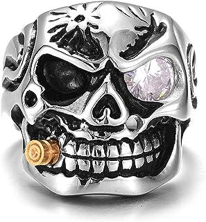 خاتم جمجمة دراجة نارية من الفولاذ المقاوم للصدأ للرجال مقاسات متعددة لاختيار خواتم الرجال والنساء (اللون: فضي، الحجم: 12)
