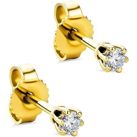 Orovi Pendientes para mujer con diamantes de oro amarillo de 14 quilates (585) y diamantes brillantes de 0,12 quilates, hechos a mano en Italia