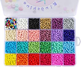 Multicolor Beading Glass Seed Beads - Tube Beads 24 Colors 4mm Pony Bead Round Spacer Mini Beads, Approx 7200pcs with Container Box for Jewelry Making