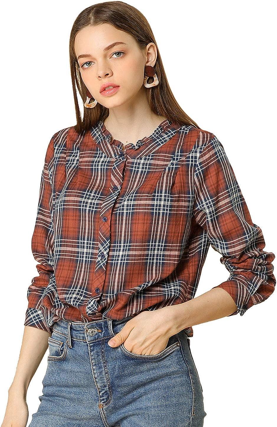 Allegra K Wholesale Women's Button Up Blouse Neck Sleeve Long P Max 59% OFF Top Ruffle