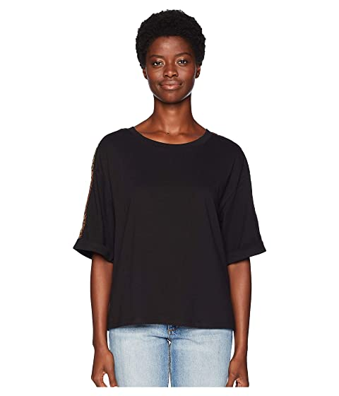 The Kooples T-Shirt with Jewel Details on the Shoulder