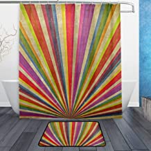 LORVIES Ranibow Sunbeams Grudge Bathroom Set, Polyester Fabric Shower Curtain (60X72 Inch) with Bath Mats Rugs(15.7 X 23.6 Inch)-12 Rings