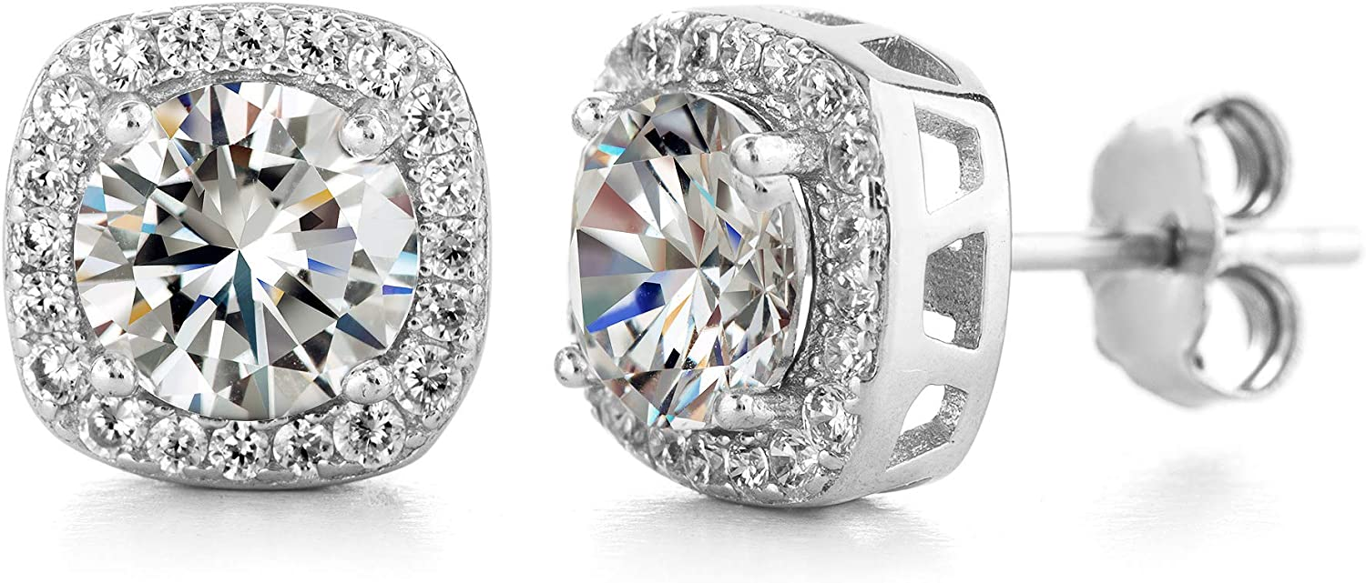 Devin Rose Square Halo Crystal Stud Earrings for Women
