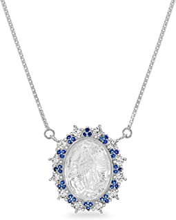 MY BIBLE Sterling Silver Simulated Blue Sapphire Cubic Zirconia and Carved Mother of Pearl Religious Jesus Pendant Necklace on 20 Inch Box Chain Necklace for Women (Various Colors)