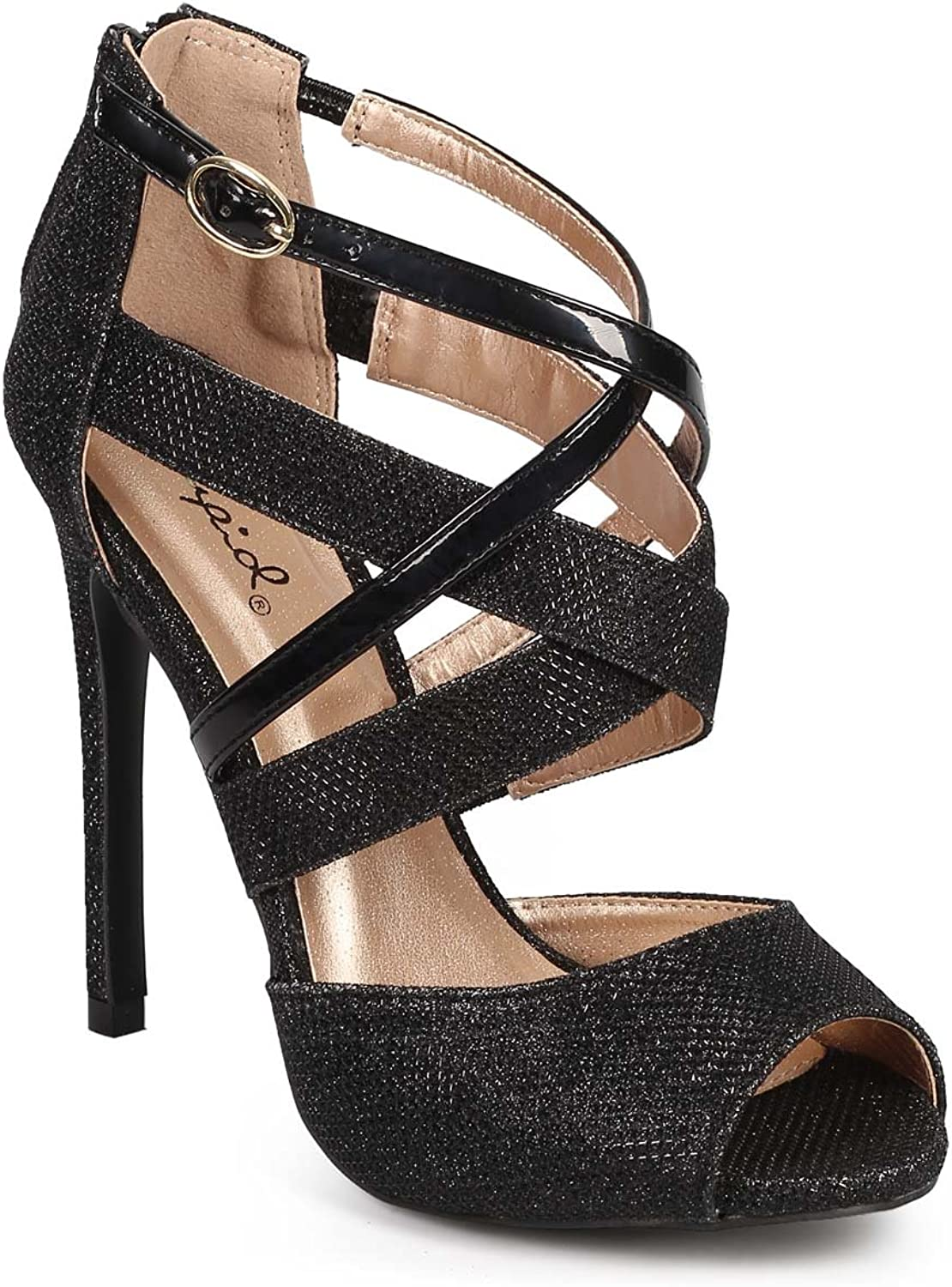 Qupid DF93 Women Glitter Peep Toe Criss Cross Stiletto Heel Sandal - Black