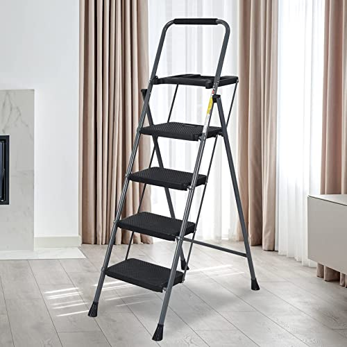 high quality Apepro 4 Step Ladder online sale with discount Build-in Tool Platform, Folding Step Ladder for Kitchen,Garage Library and Home, Foot Ladder Sturdy Wide Pedals online