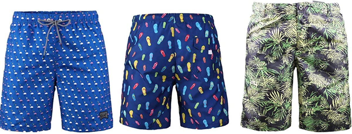 3 Pack Men's Board Shorts with Beach Finally popular brand Drawstring Blue Casual Smoo Max 40% OFF