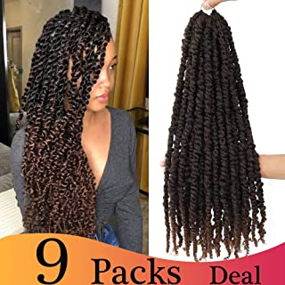 (20inch,T30#, 9packs,12Roots/pack,85g/pack) BaiHong Pre-twisted Passion Twist Crochet Hair Water Wave Crochet Braids Pre-looped Passion Twists Crochet Hair Extensions (20 inch, T30#)