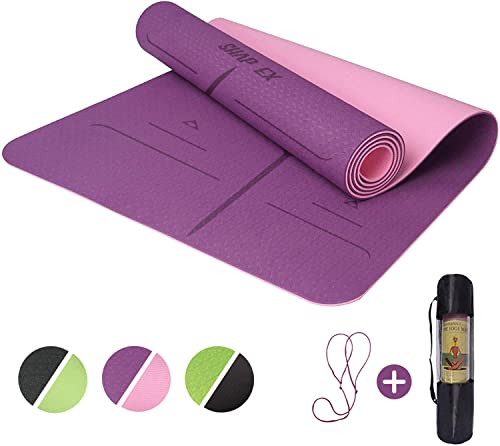 "ShapEx Large Yoga Mat (72""x26.5""Inch) Thick Yoga Mat ¼ Inch Thickness Non Slip,Anti-Tear,Sweat-Proof,Eco Friendly Exe..."