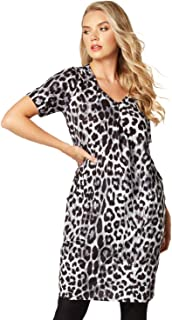 8d693973 Roman Originals Women Animal Print Dress Pockets - Ladies Knee Length Leopard  V-Neck Stretch