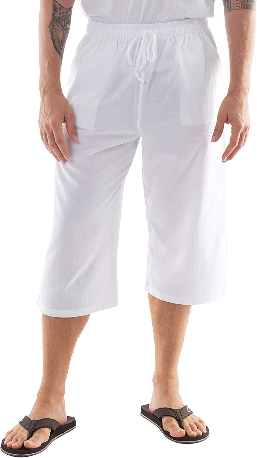 CandyHusky Mens Cotton Pilates Yoga Shipping included Lounge Max 46% OFF Sleep Pa Beach Capris