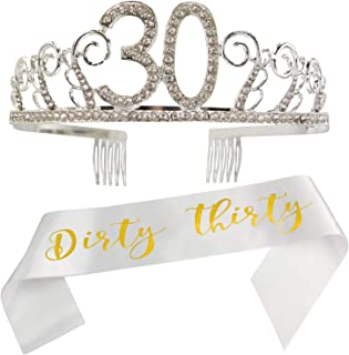 30th Birthday Tiara and Sash, Dirty thirty Satin Sash and Crystal Rhinestone Tiara Birthday Crown for HAPPY 30th Birthday Party Supplies and Decorations(Sash+Tiara) /DW
