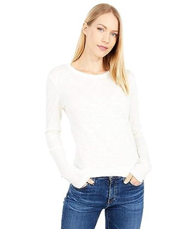bobi Los Angeles Slubbed Jersey Long Sleeve Scoop Neck Tee (Cream) Women