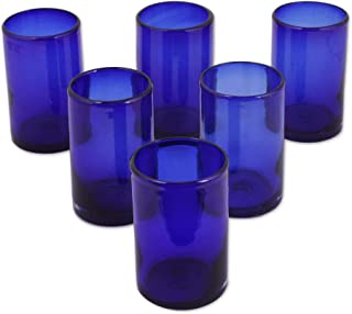 NOVICA Artisan Crafted Cobalt Blue Hand Blown Recycled Glass Cocktail Glasses, 14 oz, Solid Blue' (set of 6)