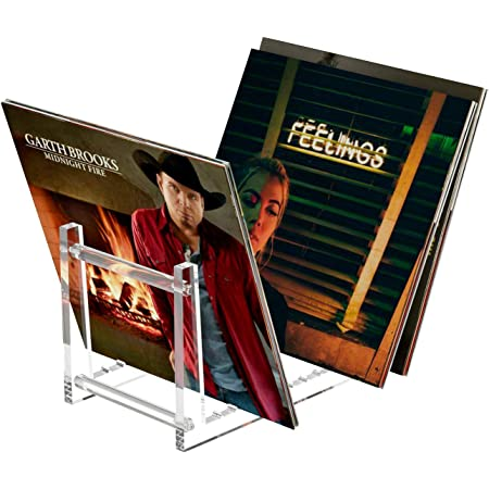 HIIMIEI Soporte para discos de vinilo transparente, soporte de exhibición de vinilo acrílico para hasta 50 álbumes