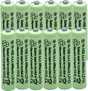 QBLPOWER Solar Light Batteries AAA Triple A NIMH 600mAh 1.2V Rechargeable for Garden Lights Remotes Mice(12Pcs)
