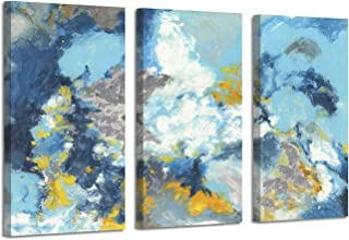 Abstract Art Ocean Picture Painted: Sea Breeze Silver Foil Oil Painting on Canvas for Decor