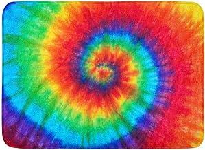 Doormats Bath Rugs Outdoor/Indoor Door Mat Colorful Rainbow Spiral Tie Dye Pattern Color Dyed Batik Peace Hippie Bathroom ...