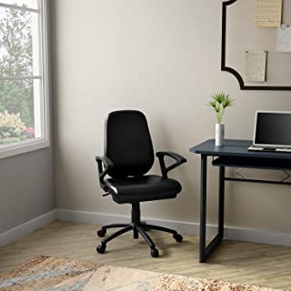 GODREJ INTERIO Mild Steel Virtue Leatherette Study Chair, Suitable for Work from Home (Black)