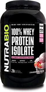 NutraBio 100% Whey Protein Isolate (Strawberry, 2 Pounds)